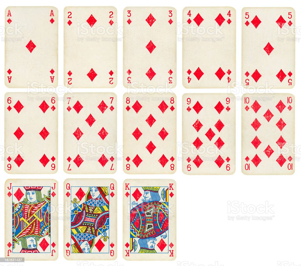 Diamond Suit of Old Playing Cards (High Quality) stock photo