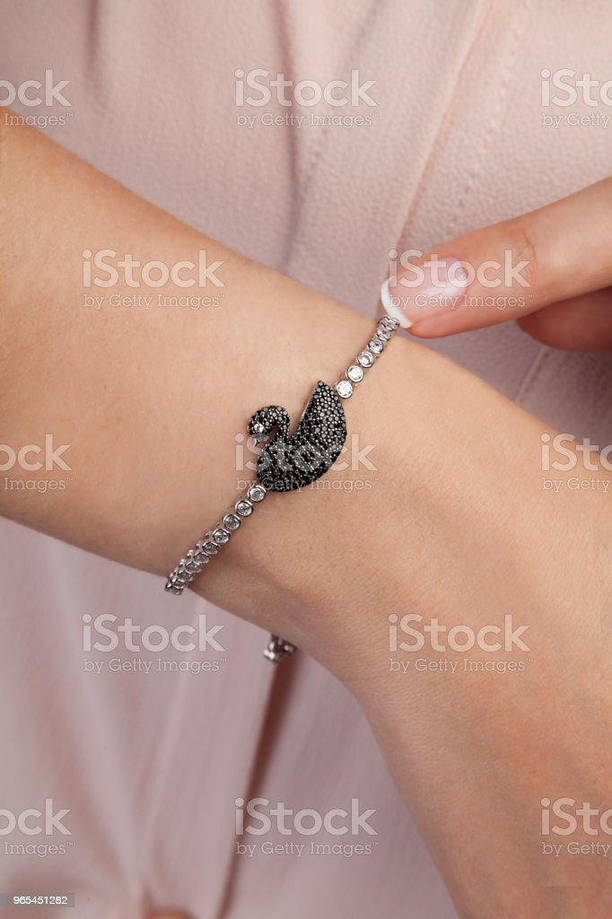 Diamond Swan Bracelet for Women royalty-free stock photo