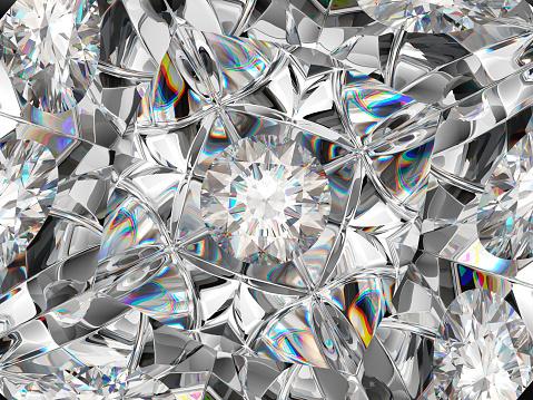 Diamond Texture Closeup And Kaleidoscope Top View Of Round Gemstone 3d Render 3d Illustration ...