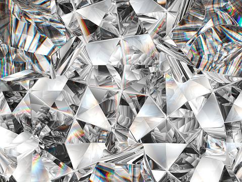 diamond texture closeup and kaleidoscope. top view of round gemstone 3d render, 3d illustration