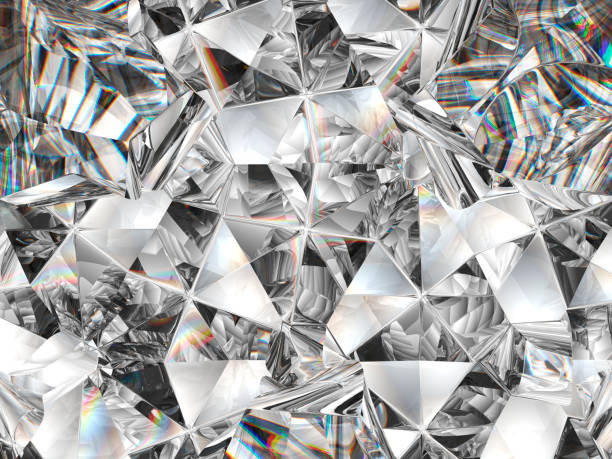 primo piano texture diamante e caleidoscopio. vista dall'alto del rendering 3d della gemma rotonda, illustrazione 3d - brillante foto e immagini stock