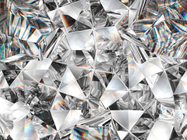 diamant textuur close-up en caleidoscoop. top uitzicht op ronde edelsteen 3d render, 3d illustratie - diamant stockfoto's en -beelden