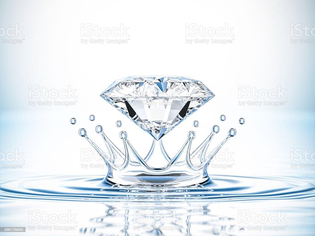 Diamond Water Splash Crown stock photo