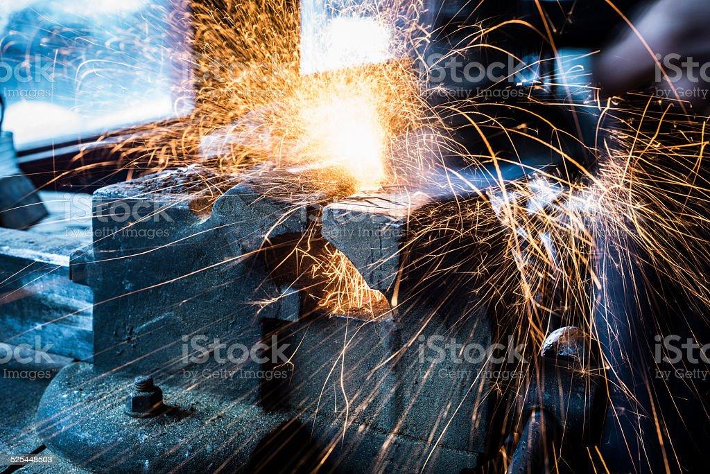 Diamond wheel grinder sparks