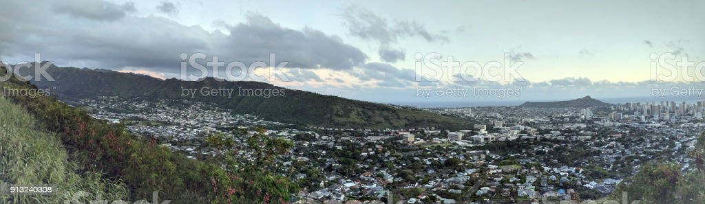 Diamondhead and the city of Honolulu, Kaimuki, Kahala, and oceanscape on Oahu stock photo