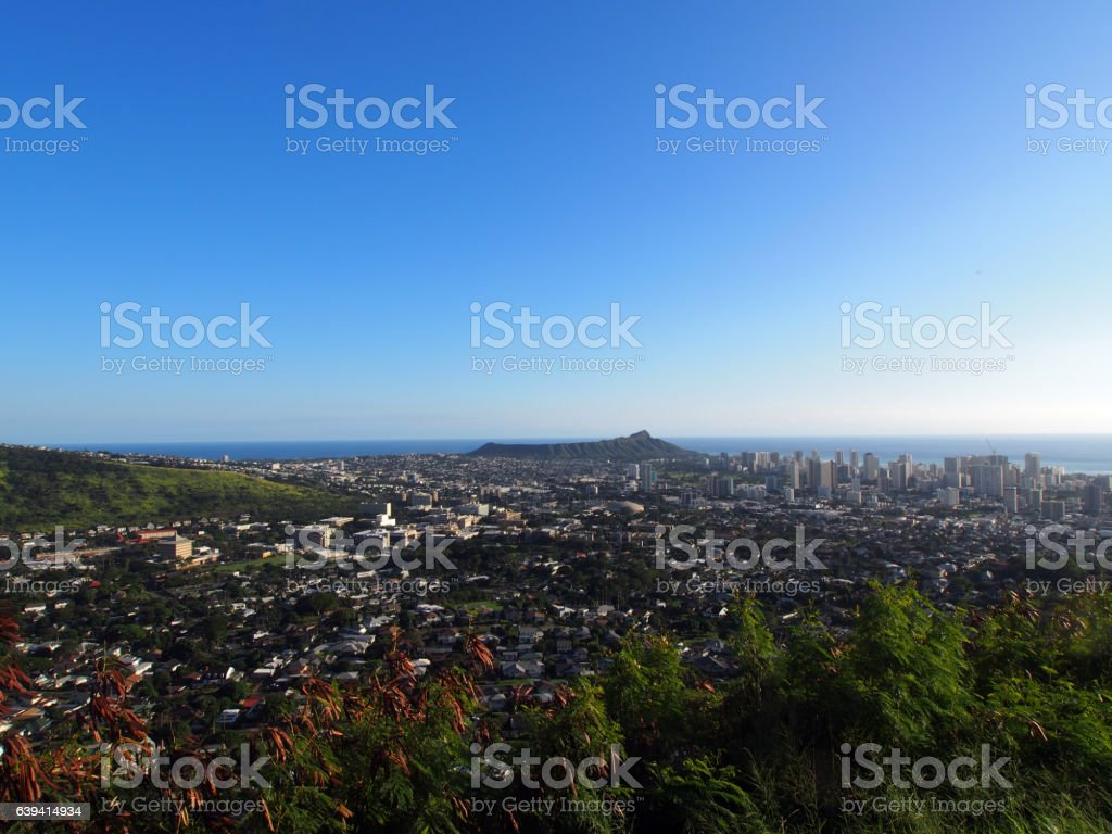 Diamondhead and the city of Honolulu, Kaimuki, Kahala stock photo