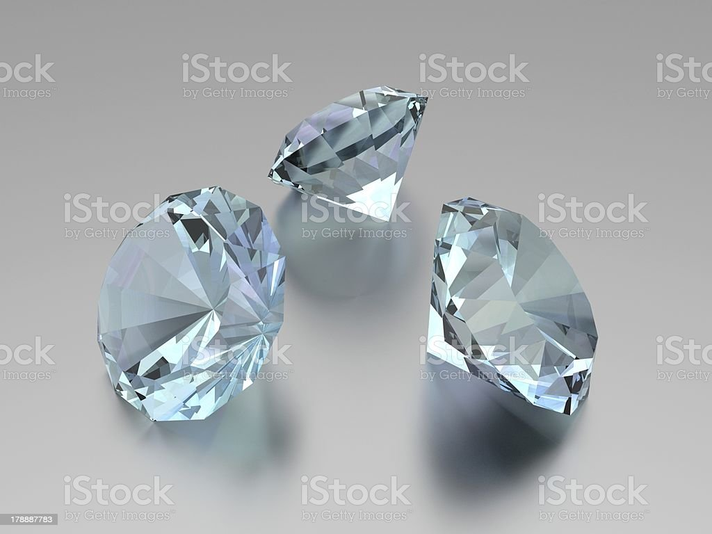 3D Diamonds - 3 Gems royalty-free stock photo