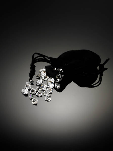 Diamonds and Pouch stock photo