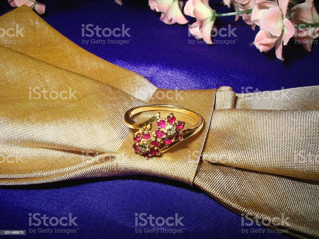 Diamonds and rubies ring stock photo