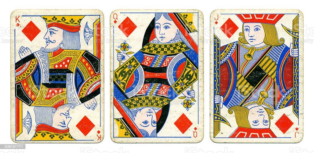 Diamonds court cards Victoria Diamond Jubilee playing cards 1897 stock photo