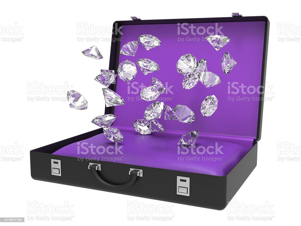 Diamonds Falling Inside Suitcase 3D stock photo