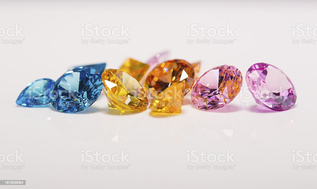 diamonds in different color royalty-free stock photo