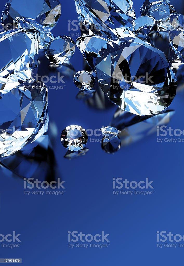 Diamonds isolated on blue royalty-free stock photo