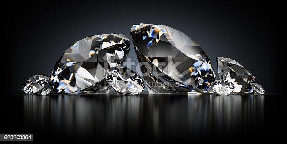 istock Diamonds on a Black Background 623203364
