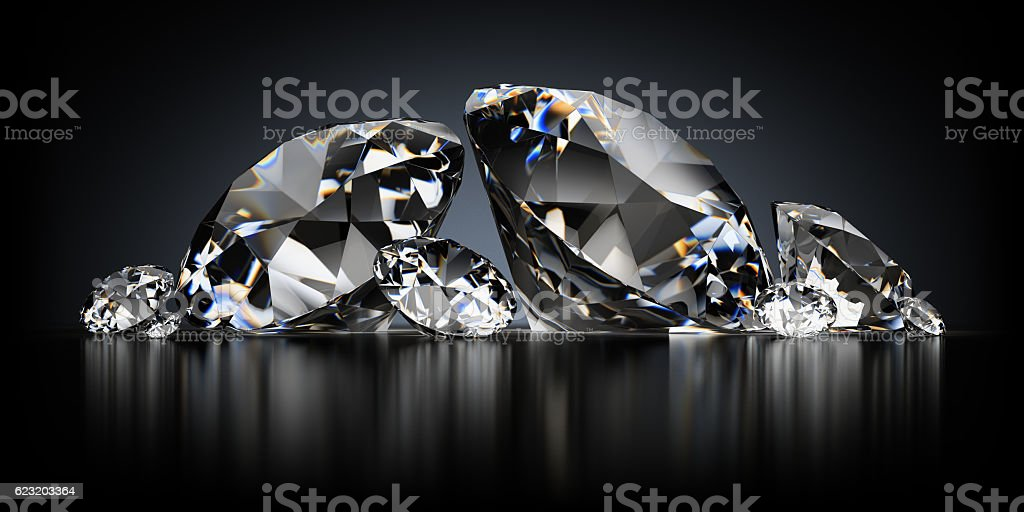 Diamonds on a Black Background stock photo