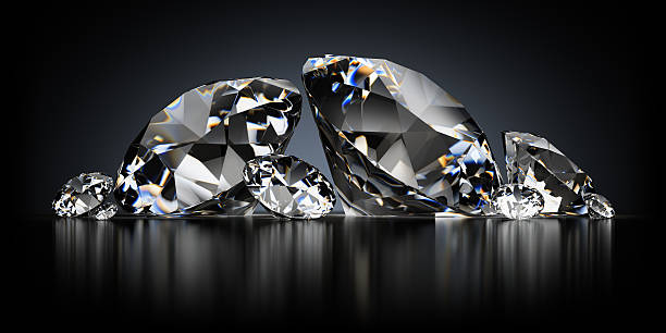 Diamonds on a Black Background stock photo