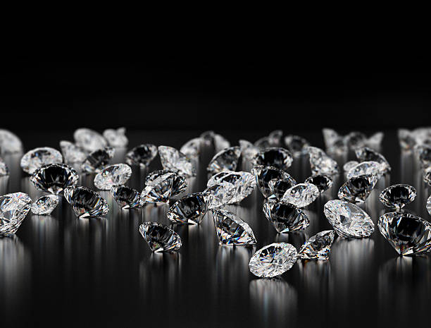 diamantes en fondo negro - brillante fotografías e imágenes de stock