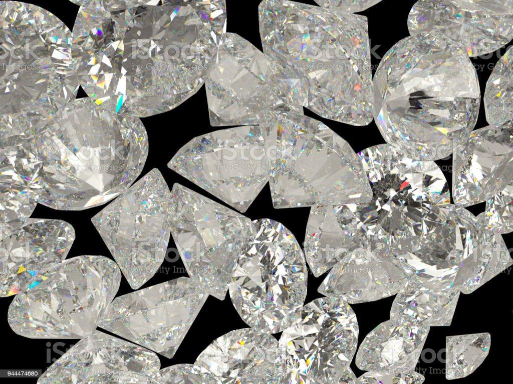 Diamonds or gemstones isolated on black background stock photo