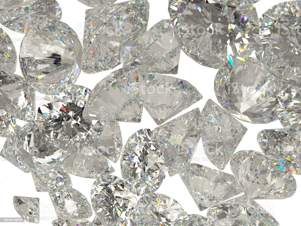Diamonds or gemstones isolated on white background stock photo