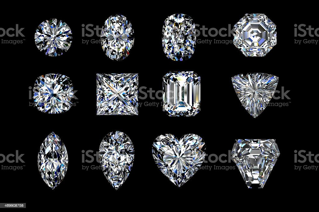 Diamonds set stock photo