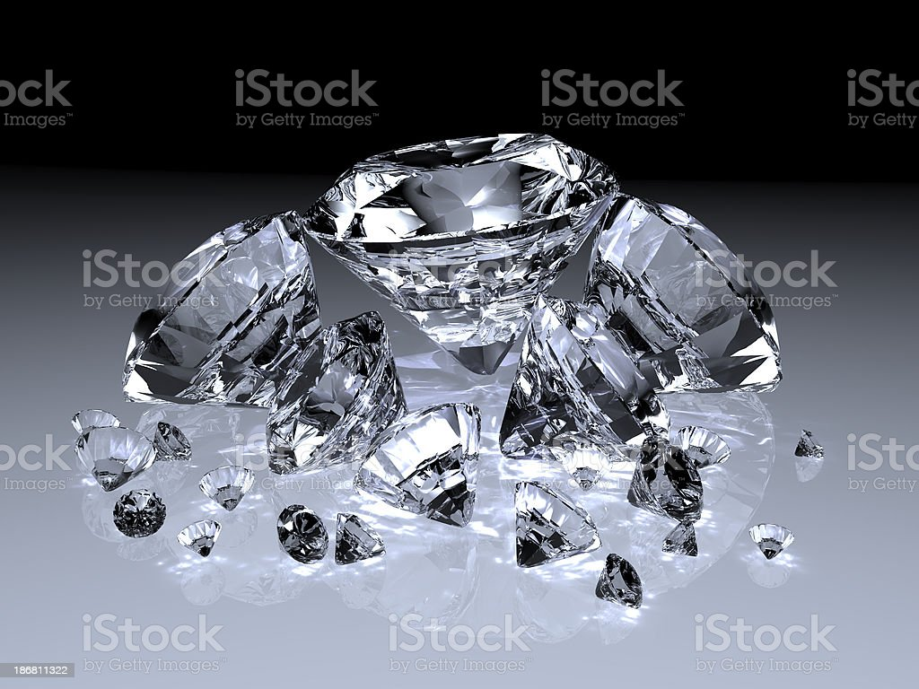 Diamonds with Caustic Effects royalty-free stock photo