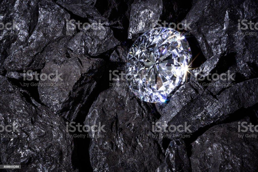 Diamong amongst Coal stock photo