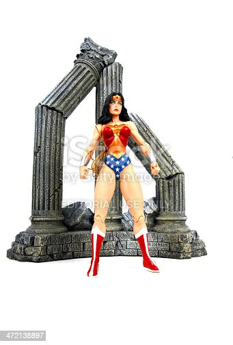 Vancouver, Canada - December 15, 2013: Action figure model of Wonder Woman, released by DC comics, against a black background.