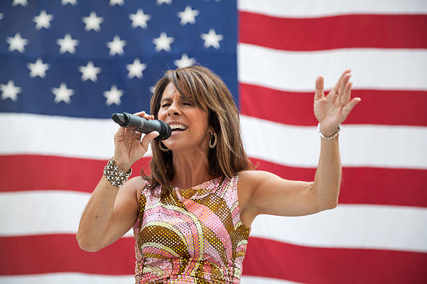 diana nagy performs in chicago - national anthem stock photos and pictures