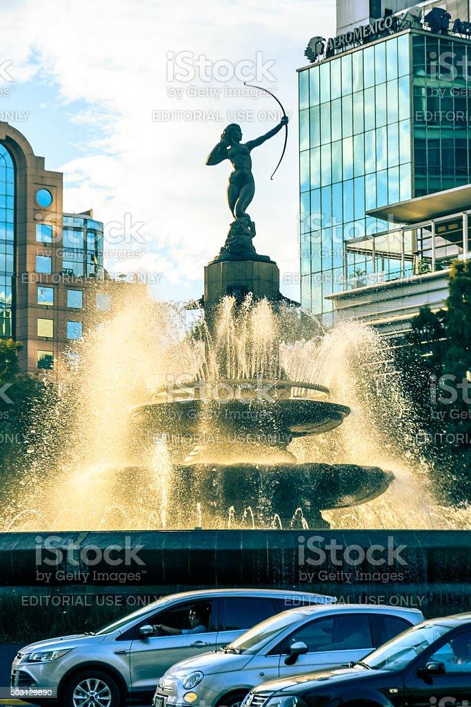 Diana The Huntress -Diana La cazadora- Fountain at Mexico City stock photo