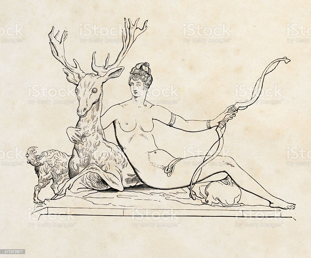 Diana with a Stag (c. 1549) by Jean Goujon stock photo