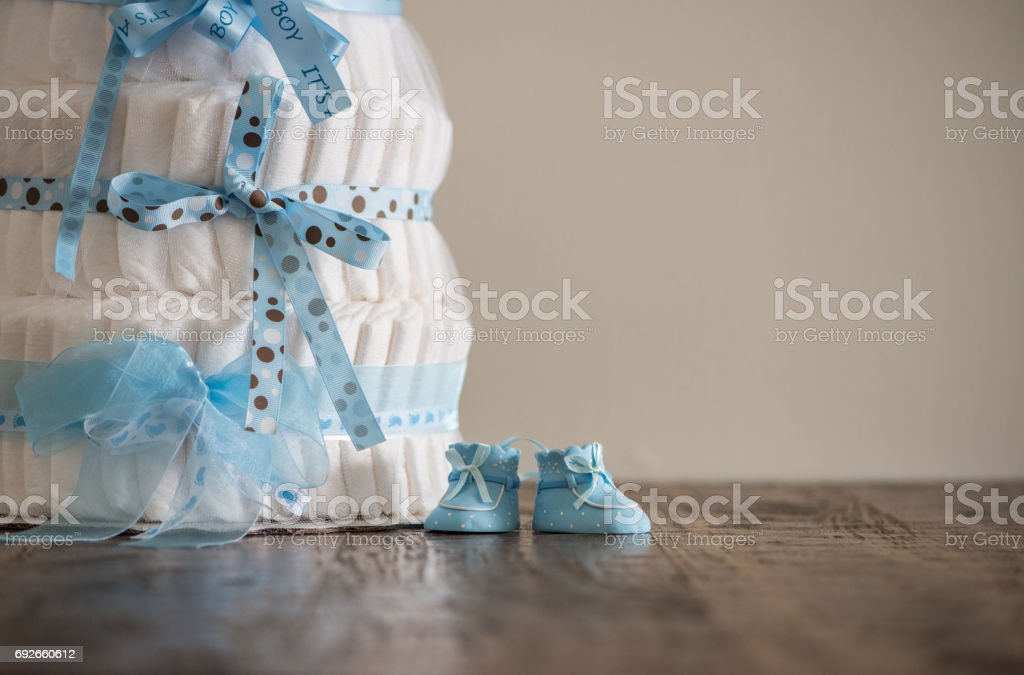 Diaper Cake A multi leveled diaper cake for a baby shower. stock photo