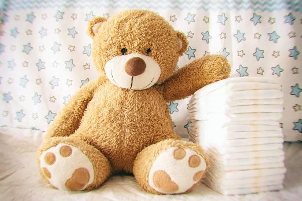Diapers with baby soft toy bear on the background of the nursery and picture id1201027941?b=1&k=6&m=1201027941&s=612x612&w=0&h=24qpg76psiycdaq03jbpkpdf3tckwmfcqme3w0r4uti=