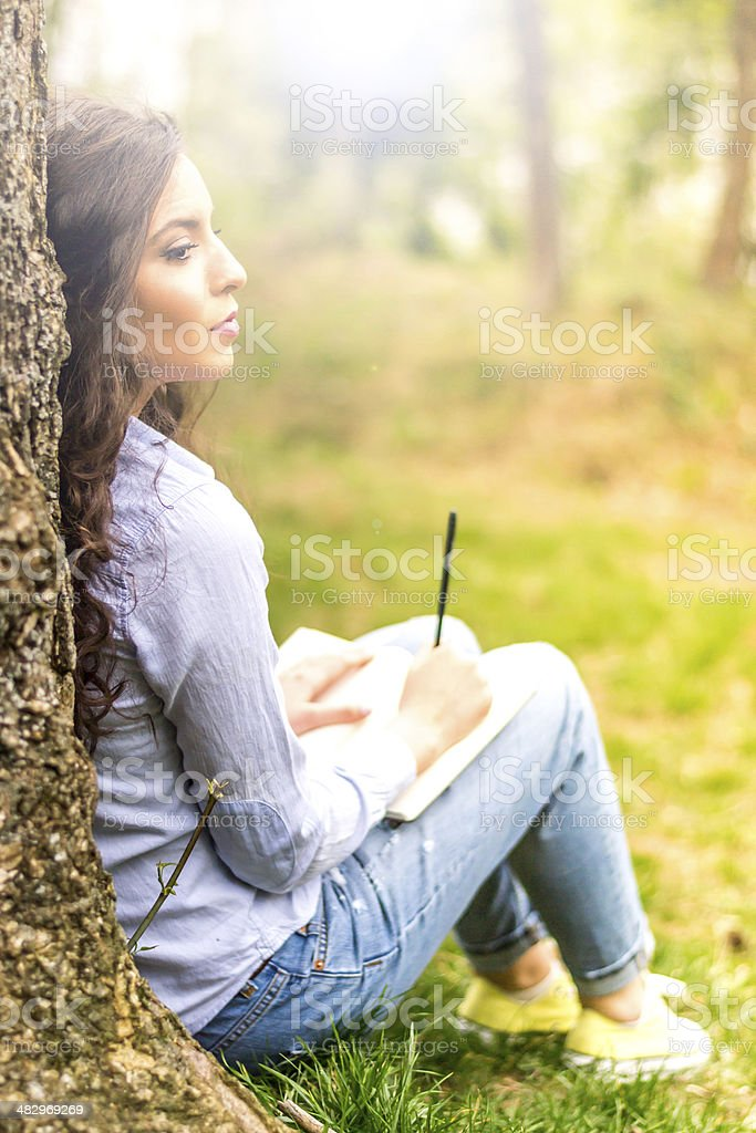 Diarist in nature stock photo