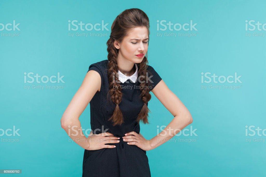 Diarrhea, gastrointestinal problem. Young woman have stomach ache stock photo
