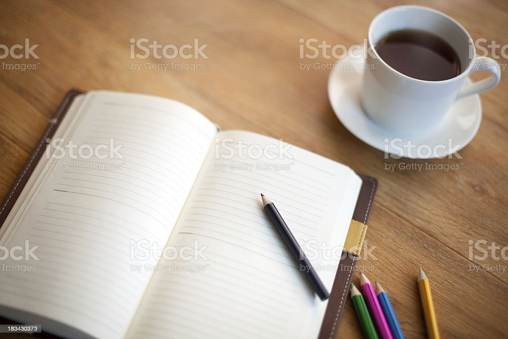 Diary and Coffee royalty-free stock photo