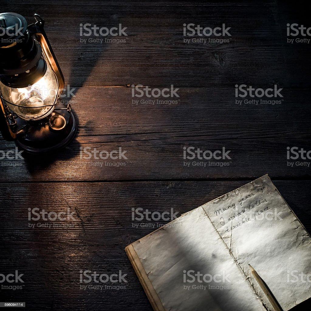 Diary and lamp Lizenzfreies stock-foto