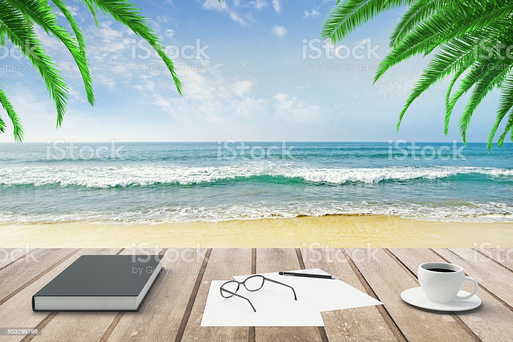 Diary, blank papers and cup of coffee on wooden bench stock photo