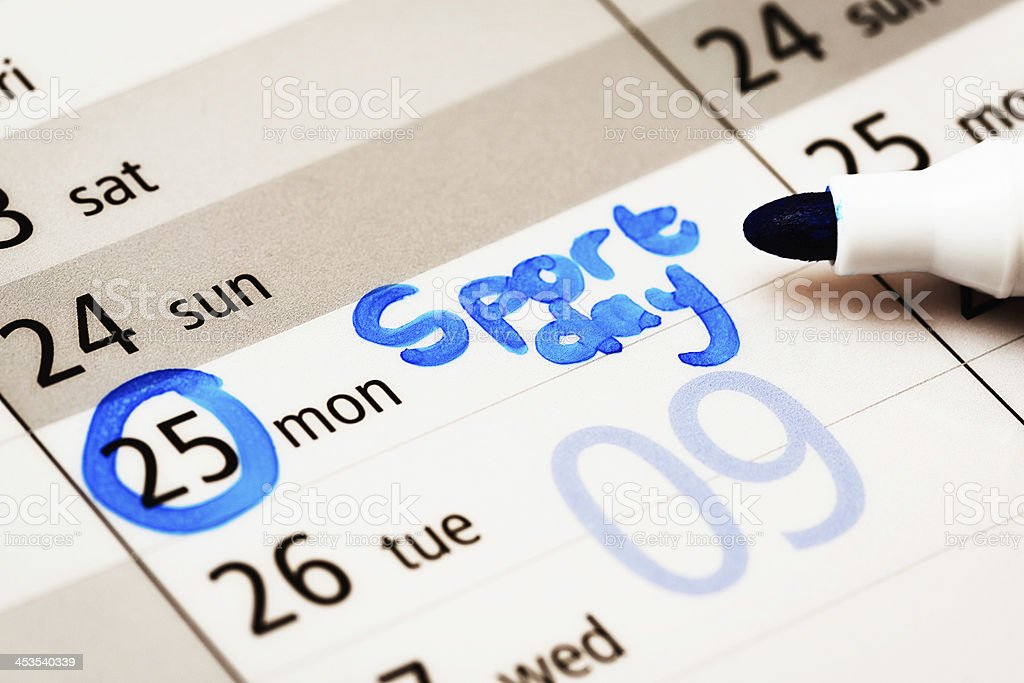 Diary has Sport Day marked on Monday royalty-free stock photo
