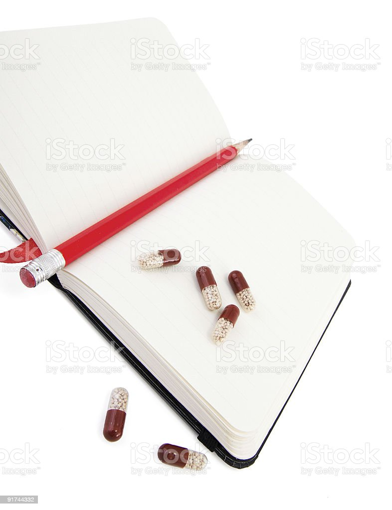 Diary of health with vitamins royalty-free stock photo