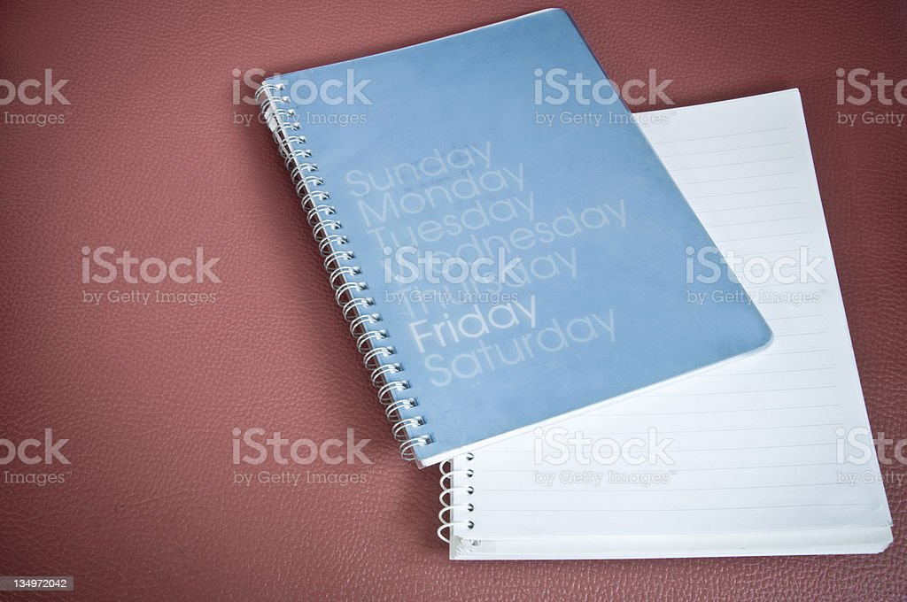Diary on red leather royalty-free stock photo