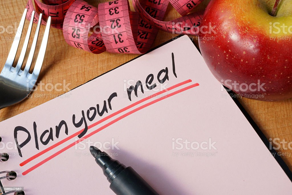 Diary with a record plan your meal on a table. stock photo