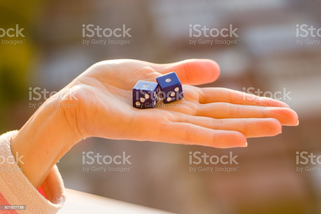 Dice 1 1 In The Female Hand Sunset Background Gambling