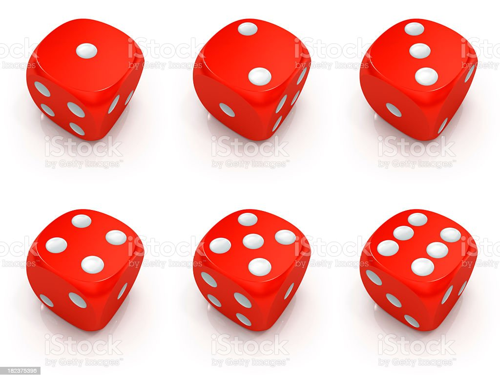 Dice 1 to 6 set stock photo