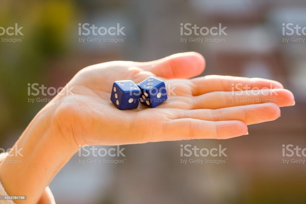 Dice 2 3 In The Female Hand Sunset Background Gambling