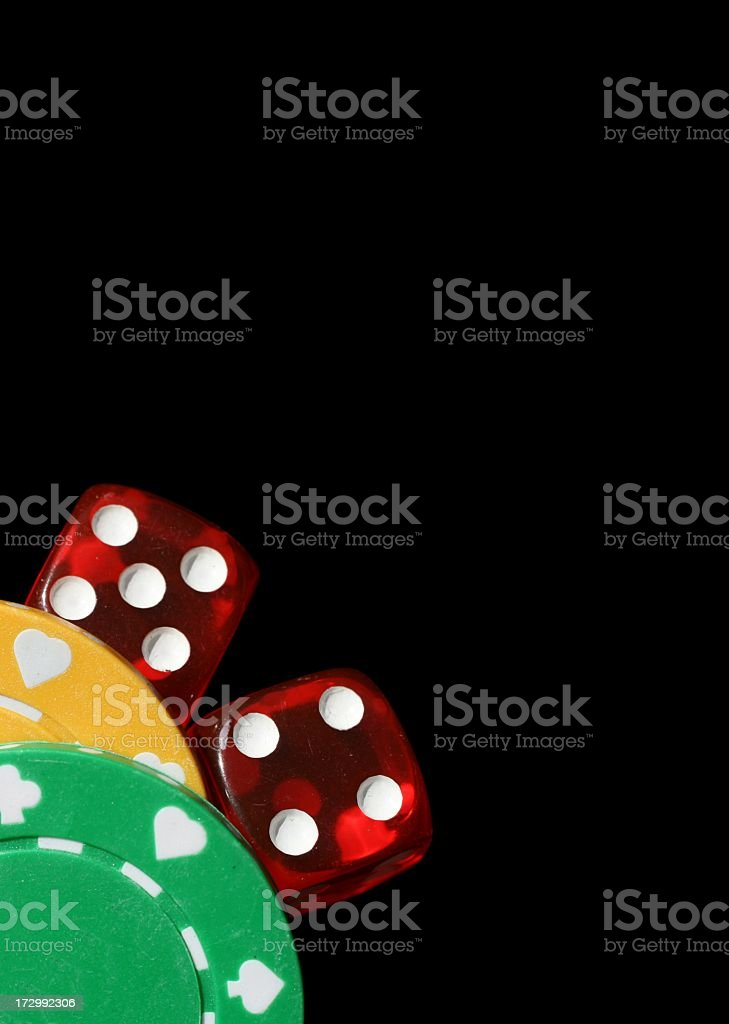 Dice and Casino Chips royalty-free stock photo