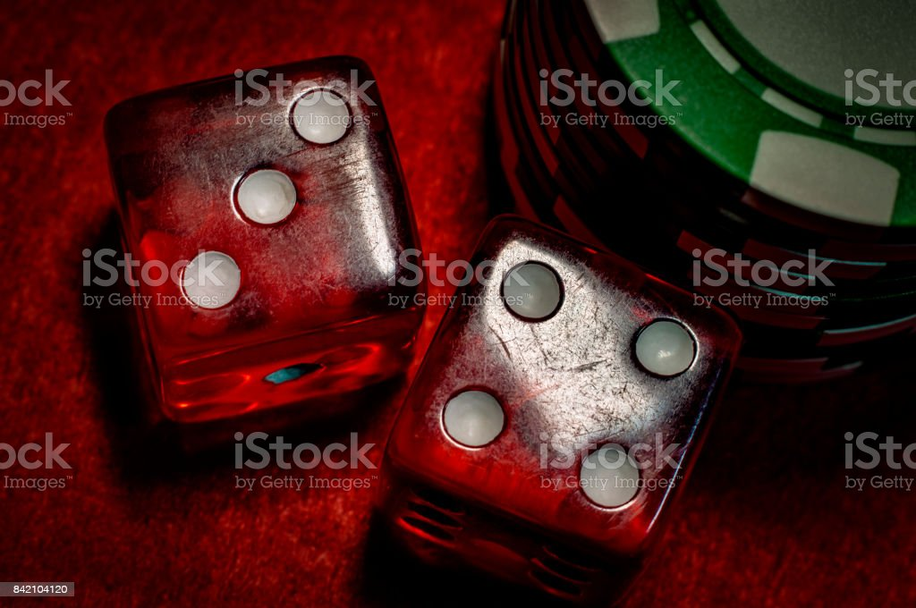 Dice and casino chips stock photo