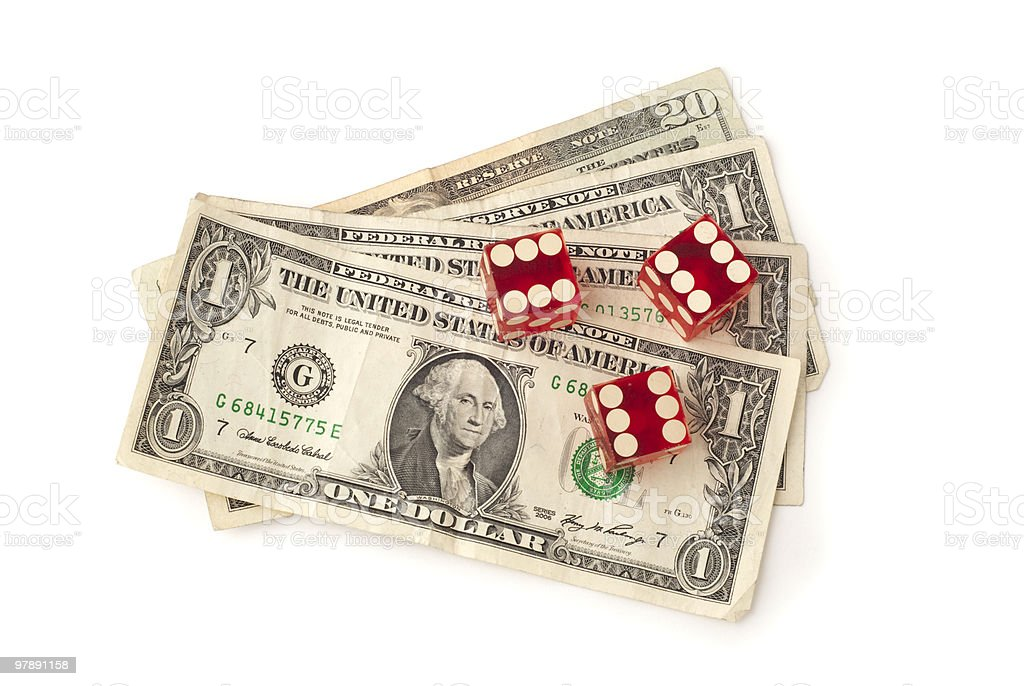dice and dollar bills royalty-free stock photo