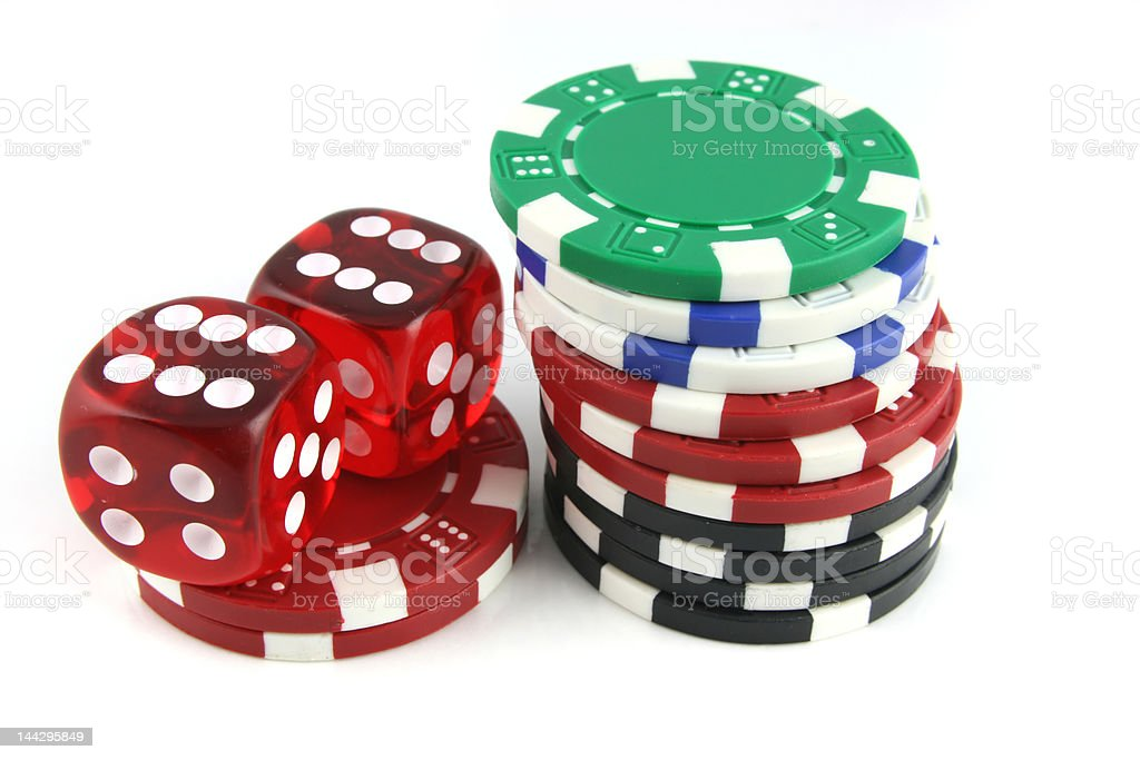 Dice and Gambling Chips royalty-free stock photo