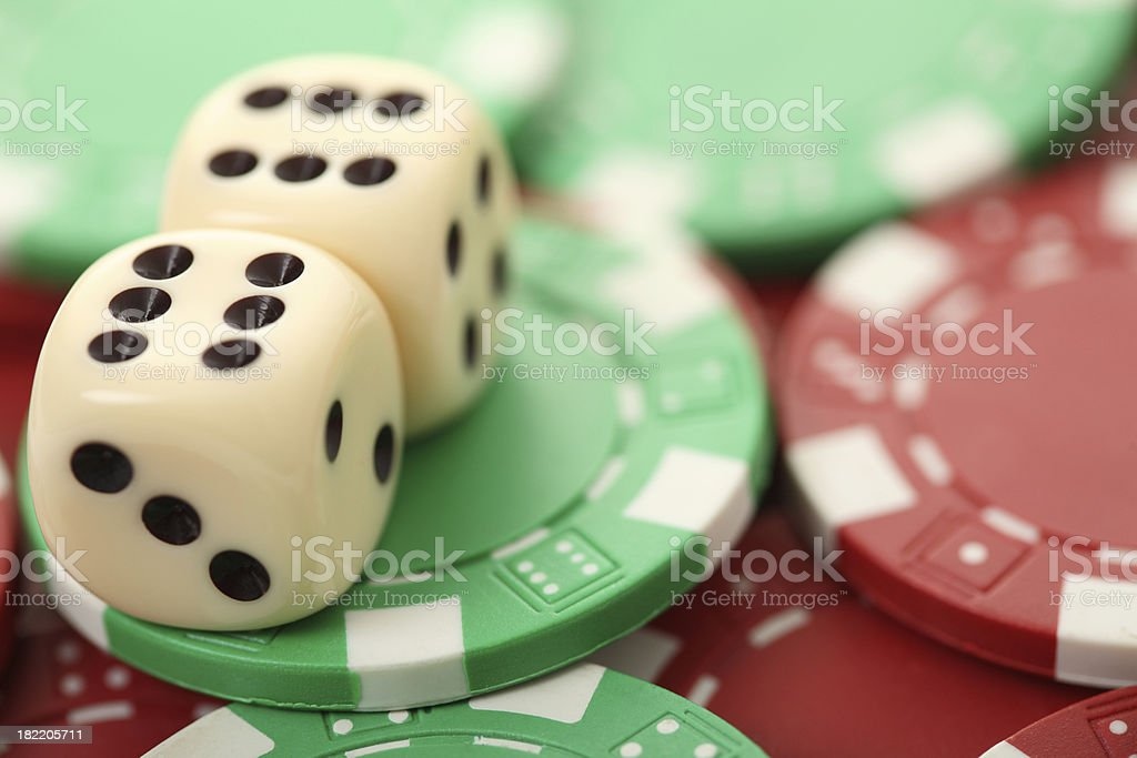 Dice and gambling chips stock photo