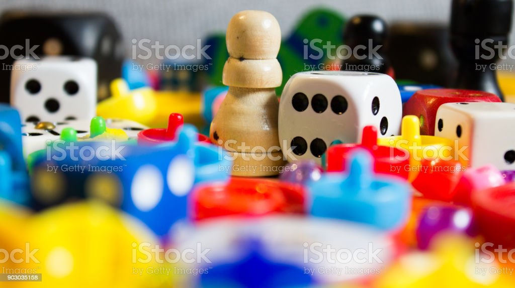 dice and small games for children stock photo